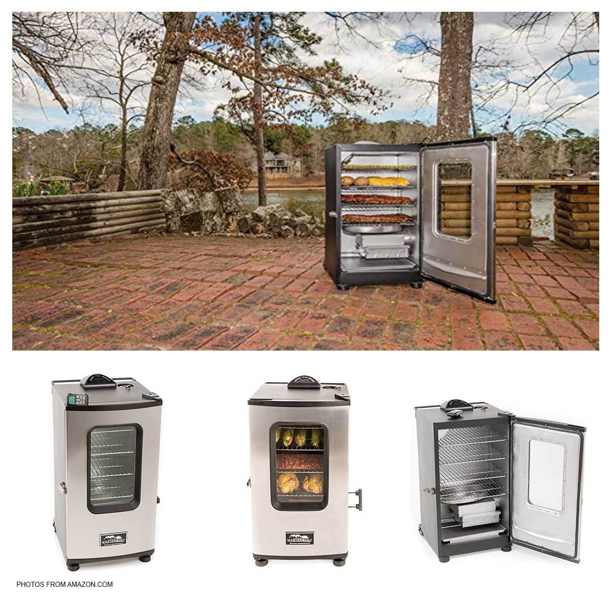 Various images of the Masterbuilt Electric Smoker, some with food on the cooking racks and some without. photo