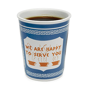 Best Coffee Mugs, blue, white and orange Ceramic Greek Coffee Cup that says