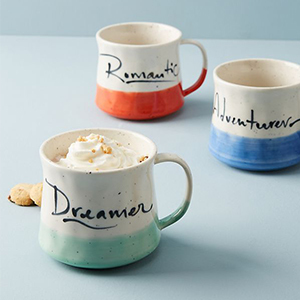 Best Coffee Mugs, three coffee mugs including: a light green one that says