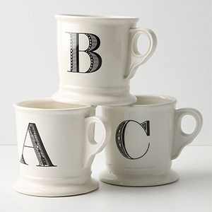 Best Coffee Mugs, black and white Monogram Mug with letters A,B, or C on each one photo