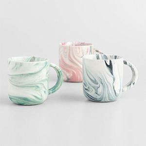 Best Coffee Mugs, Marble Mugs Set of 3 in green, blue, and pink. photo