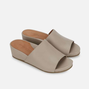 Gisele slide wedge sandals in classic leather in stone color from Kenneth Cole photo