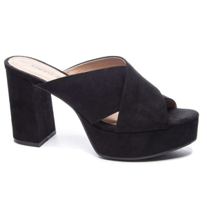black faux suede platform slide sandal from Chinese Laundry photo