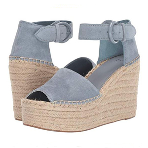 Marc Fisher platform sandal with light blue suede upper and buckle closure photo