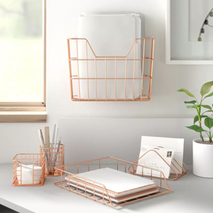 Set of five copper wire organizers from Wayfair photo