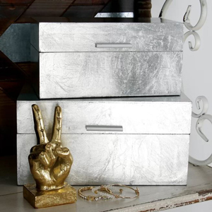 Silver set of two document boxes from Wayfair photo