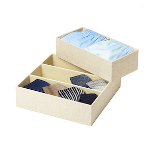 Linen drawer organizers with divided sections photo