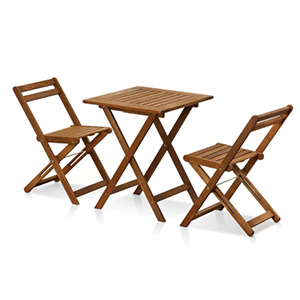 Patio Furniture, 3-Piece Bistro Set including two small chairs and a small table photo