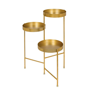 Maxon metallic gold plant stand with multiple round tiers. photo