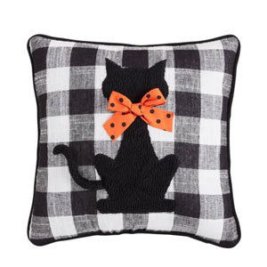 Black pillow with a cat on it from pier1 photo