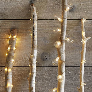 LED string lights with round bulbs wrapped around bare branches from Pottery Barn photo
