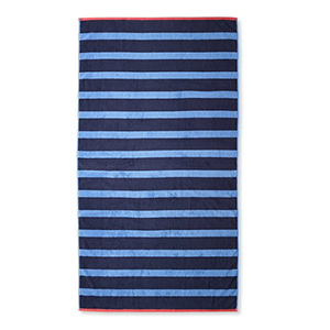Personalized Blue Striped Beach Towel with Monogram photo