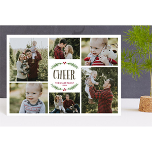 Personalized photo Christmas card showing a collage of six family photos from Minted photo