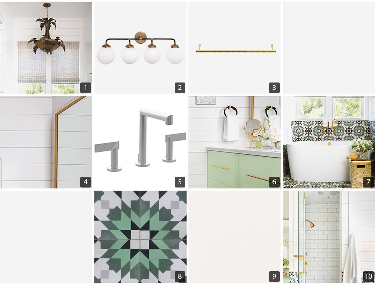 Collage of bathroom products including hardware, tub, and tile photo