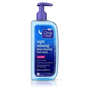 A bottle of night relaxing Clean & Clear face wash photo
