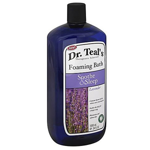 A bottle of Dr. Teal's foaming bath soak that helps soothe muscles so you can sleep better. photo