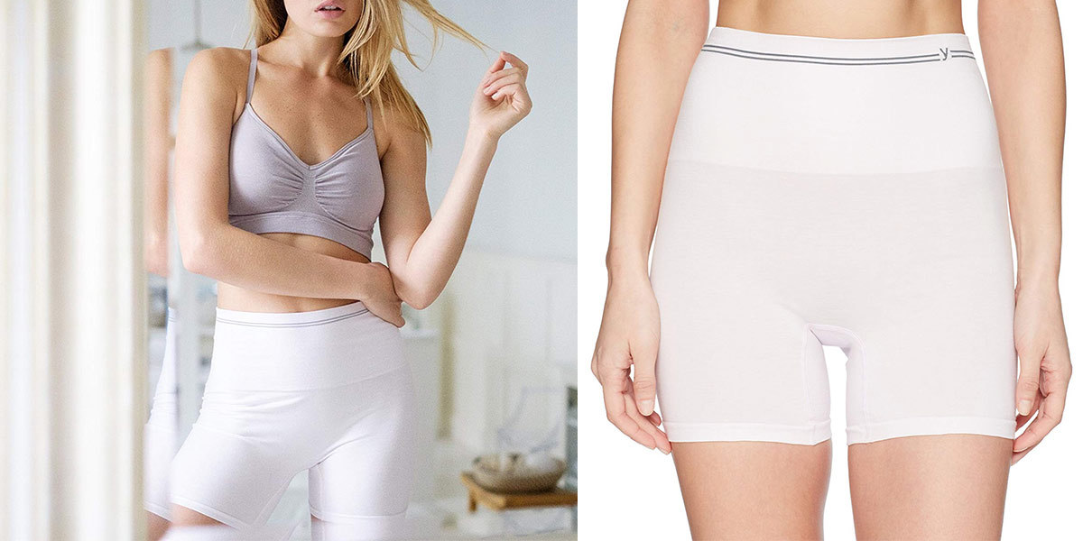 Two images of a woman wearing white shaping shorts. photo