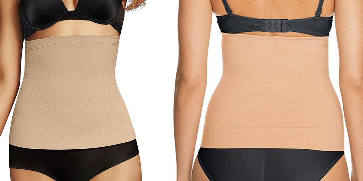 Two photos of the same woman in a piece of shapewear that fits around her midsection. photo