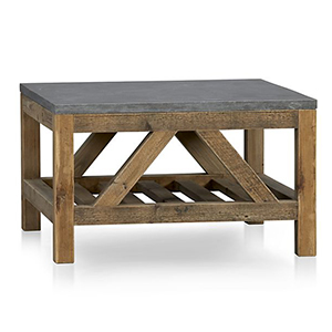 Pine coffee table with gray stone top photo