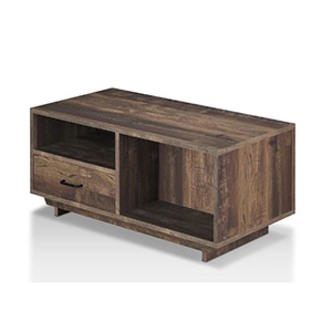 Oak coffee table with built in cubby, drawer, and shelf photo
