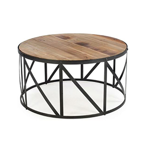 Round coffee table with metal base photo