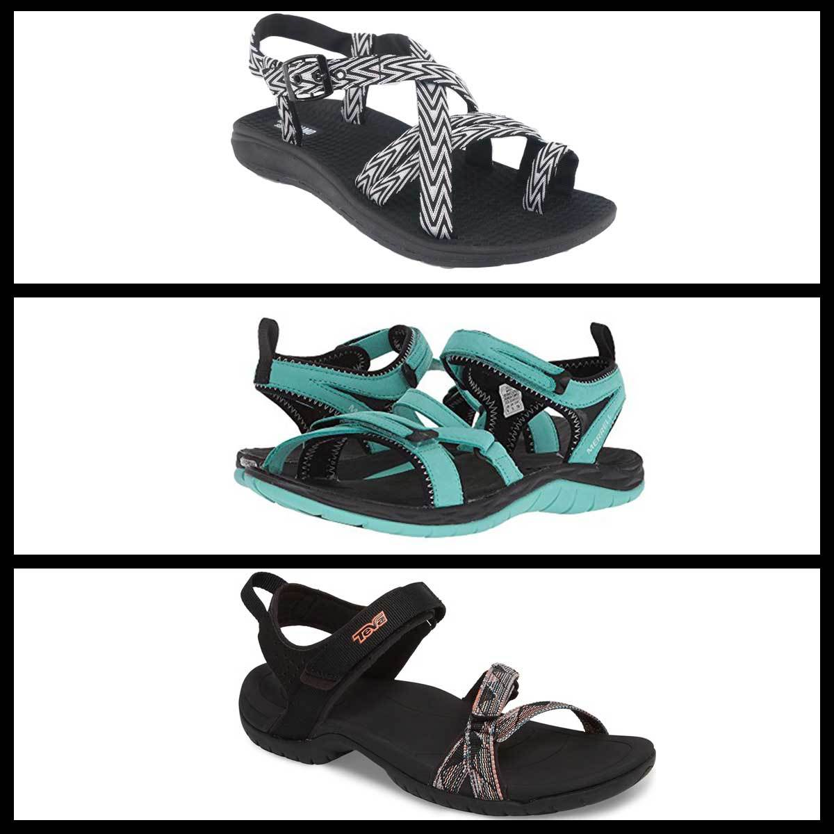 Grid of three hiking sandals including a white and black pair, turquoise pair, and black and peach pair photo