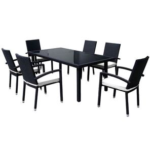 Black 7 piece dining set with white cushions on each chair. photo