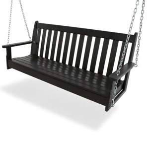 Black polywood lumber porch swing with chains holding it up. photo
