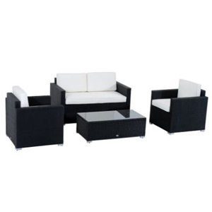 Black sofa and two chairs with white cushions along with a small black table. photo