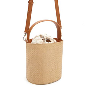 Straw bucket bag with handle and shoulder strap. photo