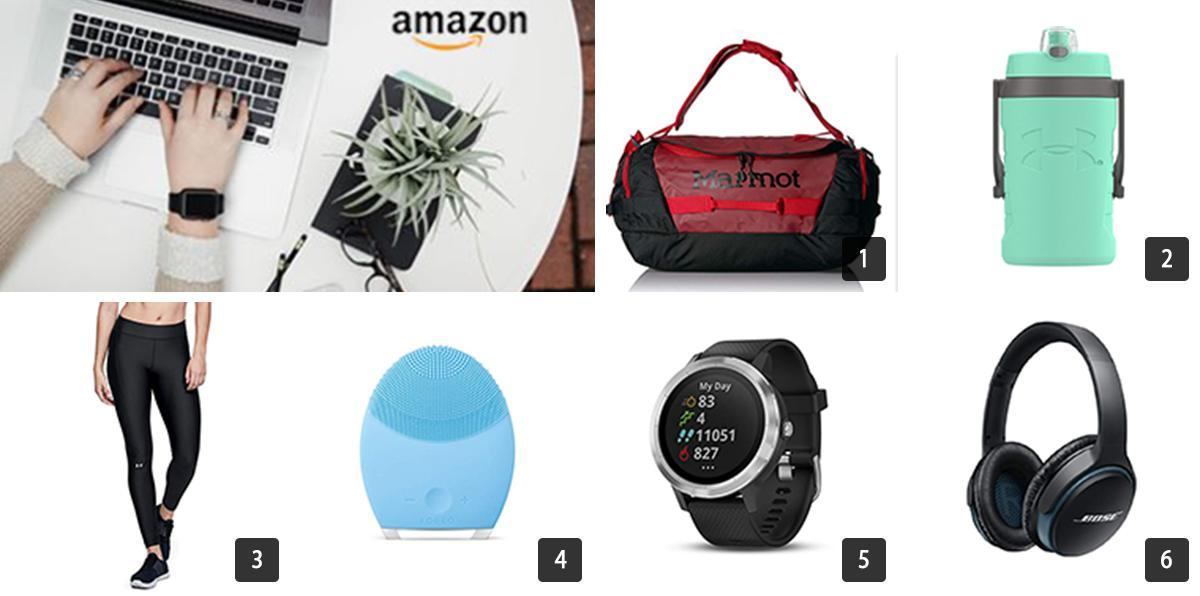 Collage of Amazon Prime Day deals including a duffel bag, water bottle, leggings, watch, face wash, headphones photo