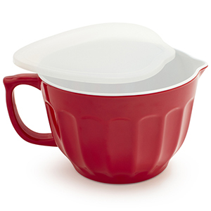 Red batter bowl with white lid from Sur La Table photo