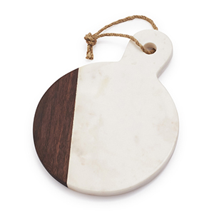 Round white marble and brown cheese paddle from Sur La Table photo
