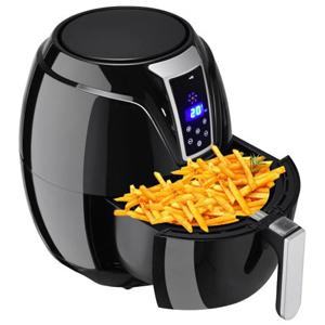 Black air fryer with a basket of fries inside from Walmart photo