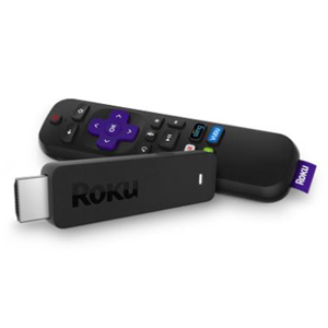 Black roku streaming stick and TV remote from Walmart photo