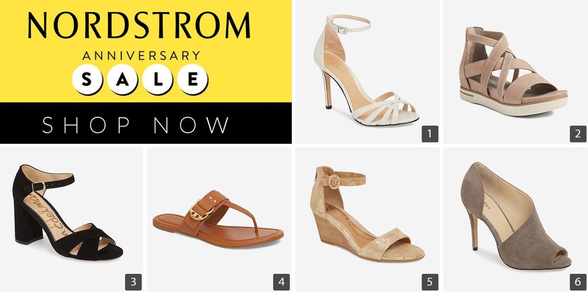 Nordstrom Anniversary Sale with 6 different shoes including strappy sandals and wedges photo
