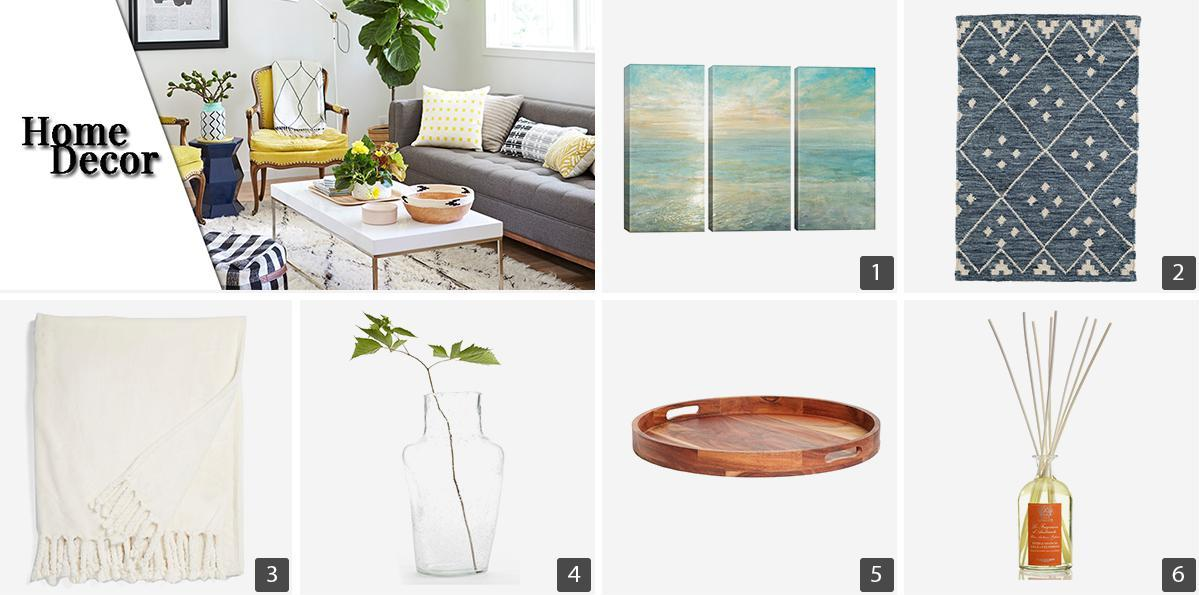 Collage of home decor products including a clear vase, cream throw blanket, and wood serving tray photo