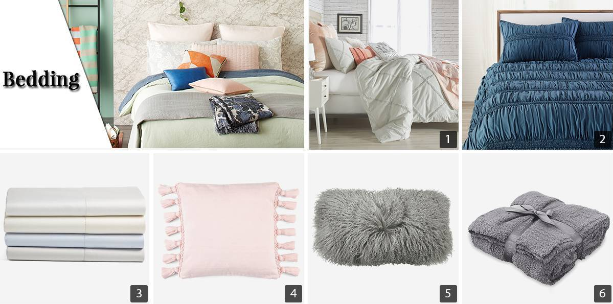 Collage of bedding products including ruched comforter, pink tassel pillow, and white sheets photo
