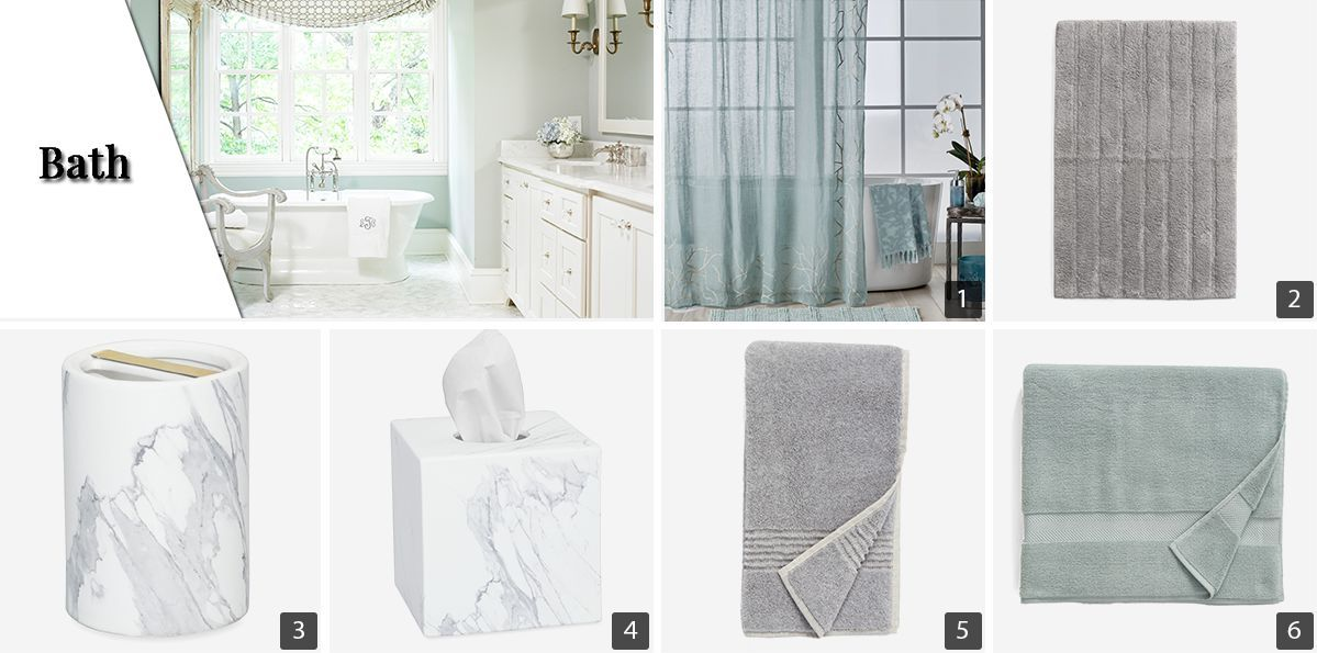 Collage of bath products including light blue shower curtain, white bath mat, and gray towels photo