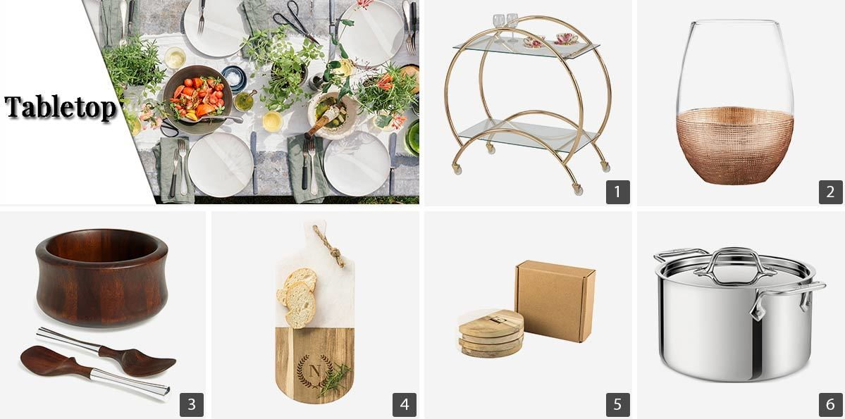 Collage of kitchen products including gold silverware, stainless steel pot, and gold bar cart photo
