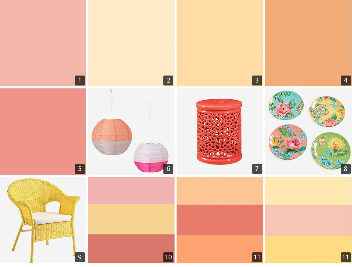 Collage of yellow, orange, and pink paint chips, home products, and accent furniture photo