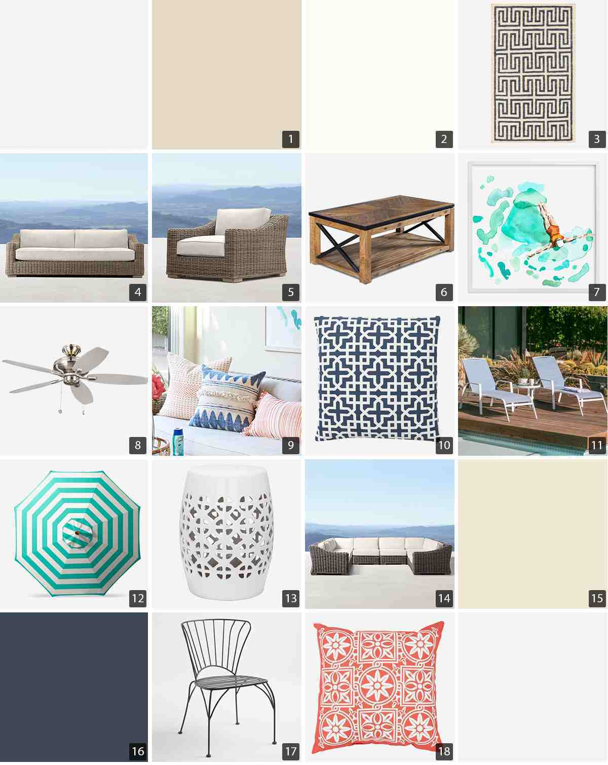 Collage of home products including paint swatches, wicker patio furniture, and blue and coral throw pillows photo