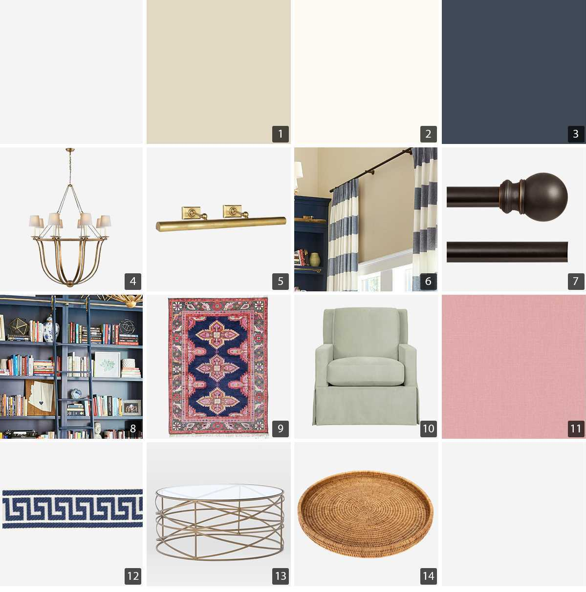 Collage of home products including picture light, rolling ladder, and rug photo