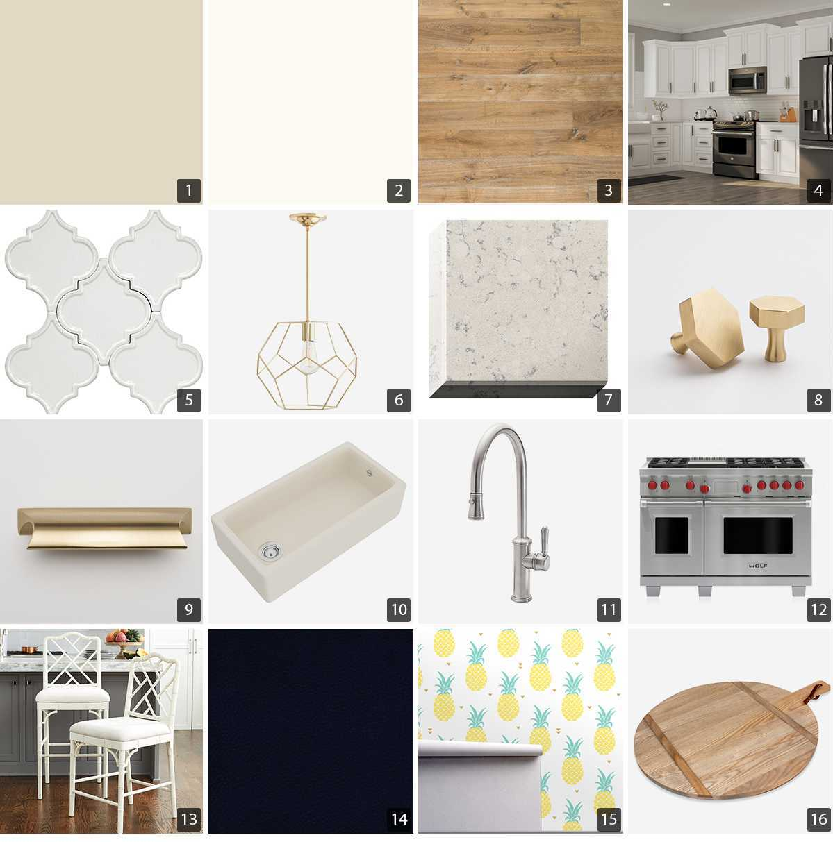 Collage of kitchen products including white cabinets, brass hardware, and faucet photo