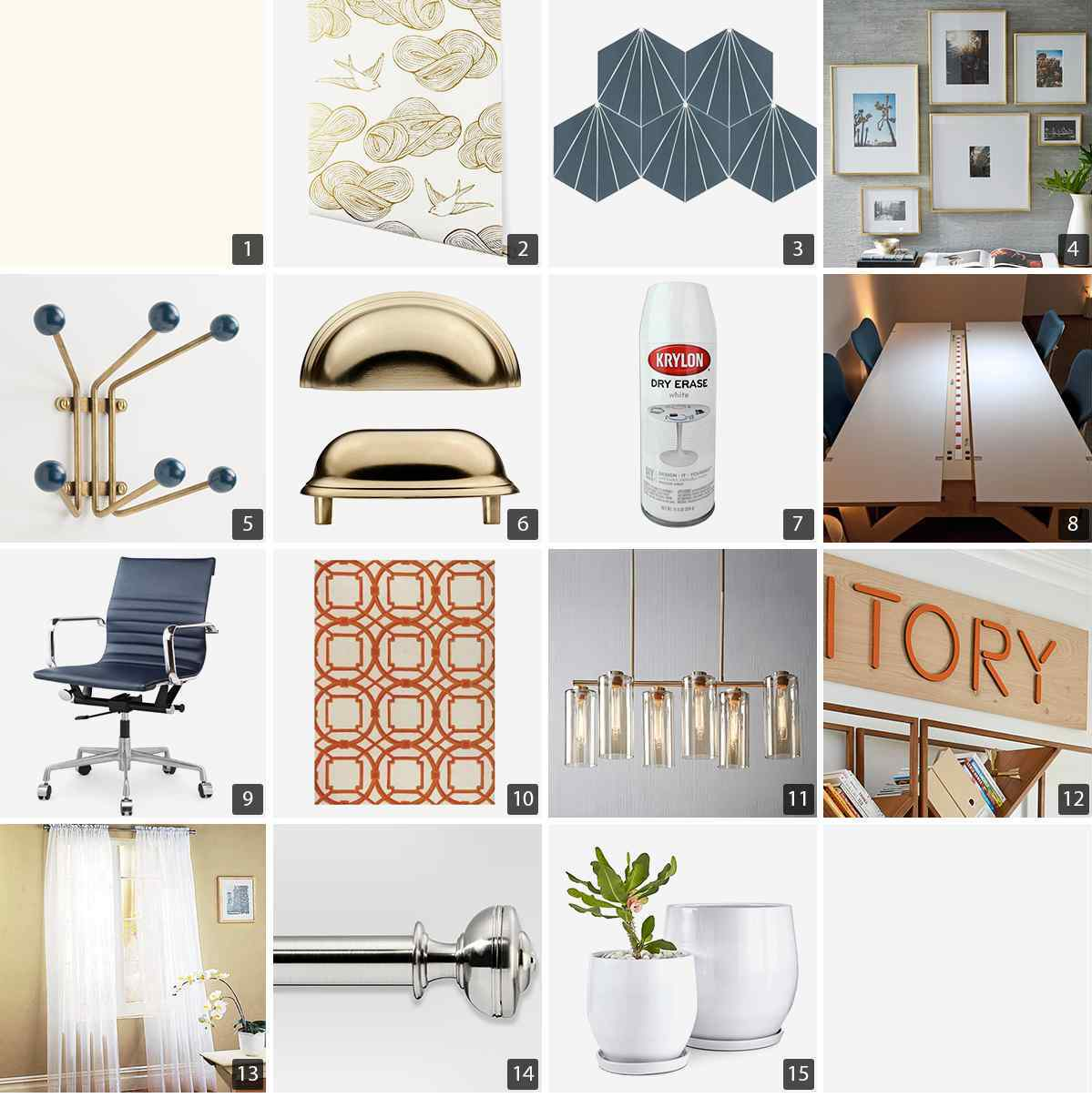 Collage of mudroom products including wallpaper, gold hooks, and white planters photo
