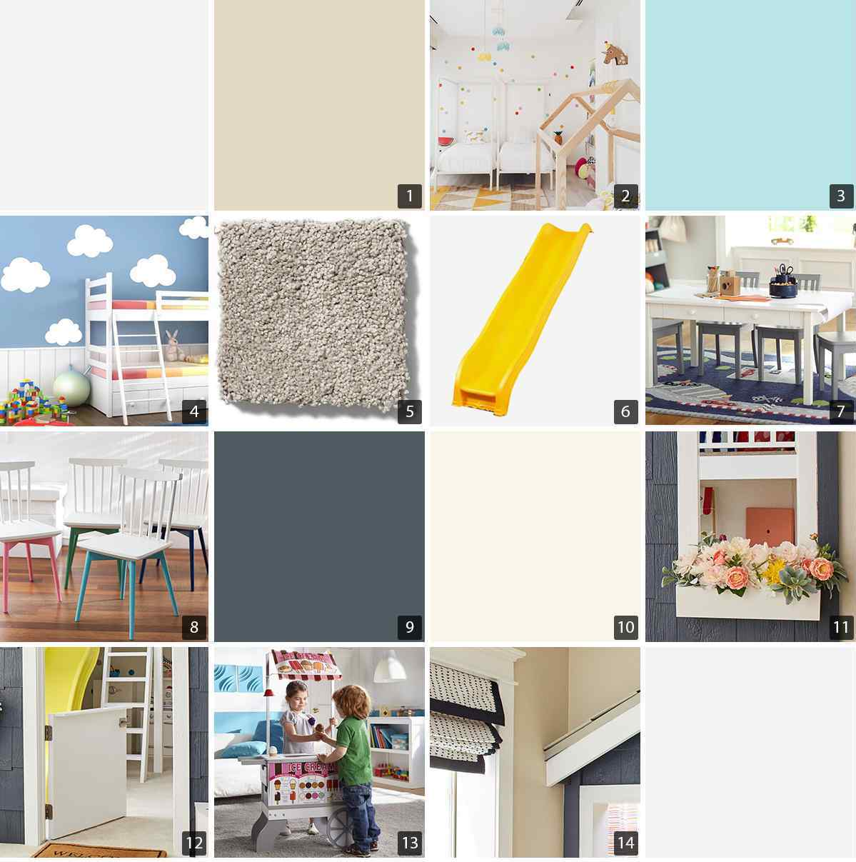 Collage of playroom products including wall decals, yellow slide, and chairs photo