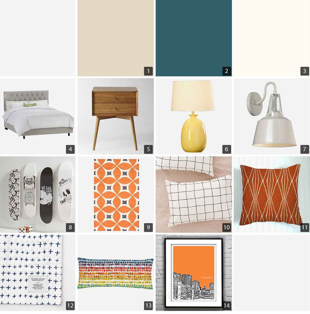 Collage of bedroom products including gray bed frame, wood nightstand, and orange rug photo