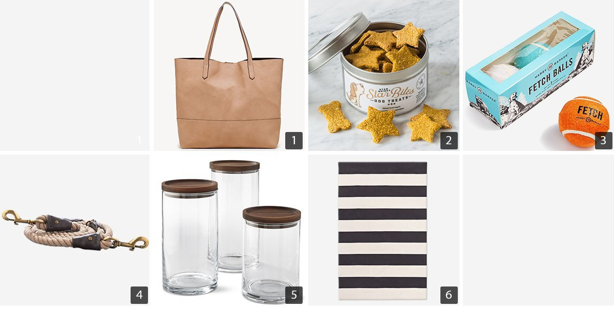 Collage of products including leather bag, dog toys, and canisters photo