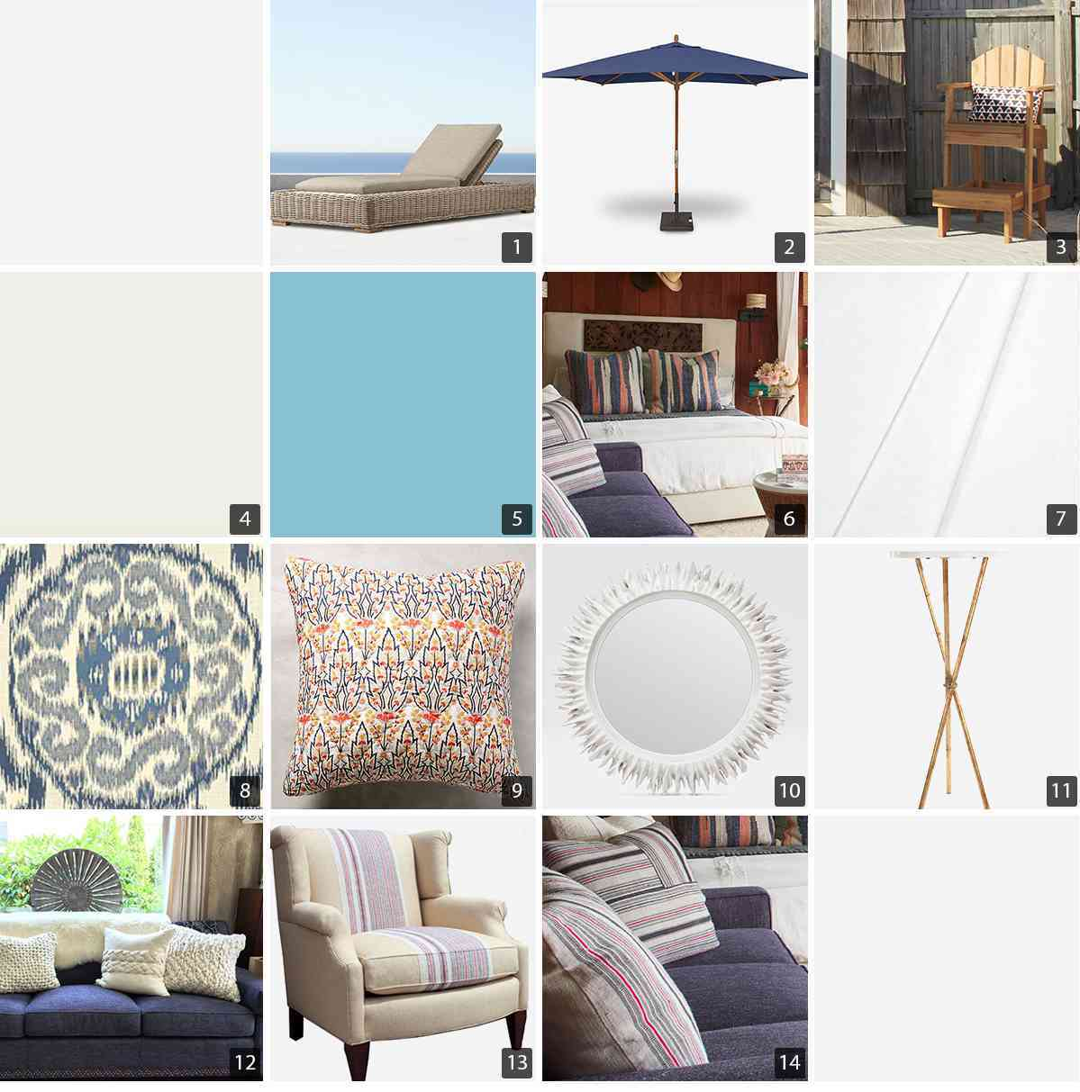 Collage of home products including lounge furniture, queen bedding, and decor photo