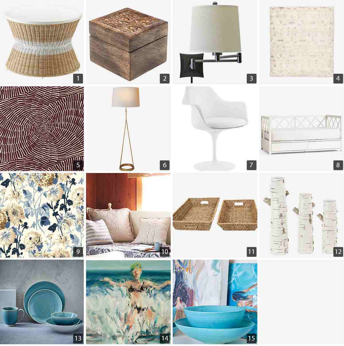 Collage of home goods including a wicker coffee table, blue dinnerware set, and floor lamp photo